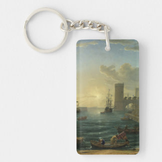 Embarkation of the Queen of Sheba - Claude Lorrain Single-Sided Rectangular Acrylic Keychain