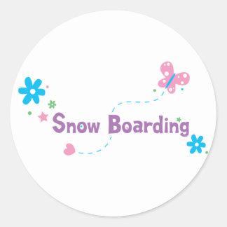 Embarque de la nieve del alboroto del jardín etiquetas redondas