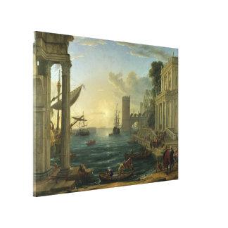 Embarque de la reina de Sheba - Claude Lorrain Impresión En Lona