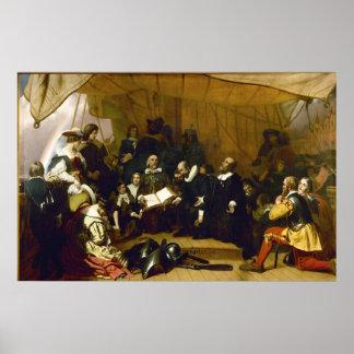 Embarque de los peregrinos de Roberto W. Weir Poster