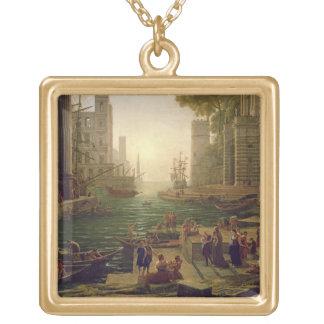 Embarque de St. Paula Romana en Ostia, 1637-39 Colgante Cuadrado