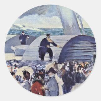 Embarque para Folkestone de Manet Eduardo Pegatinas Redondas