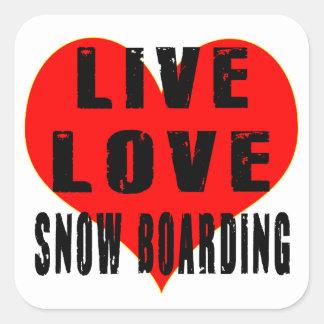 Embarque vivo de la nieve del amor colcomanias cuadradas