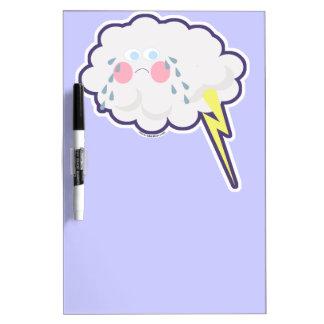 Embarrassed Emo Kawaii Lightning Cloud Dry Erase Board