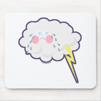Embarrassed Emo Kawaii Lightning Cloud Mouse Pad