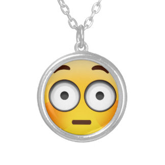 Embarrassed Emoji  with flushed cheeks Round Pendant Necklace
