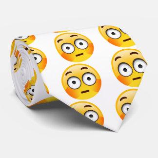 Embarrassed Emoji  with flushed cheeks tie