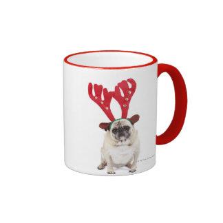 Embarrassed looking Pug wearing Reindeer Antlers Coffee Mugs