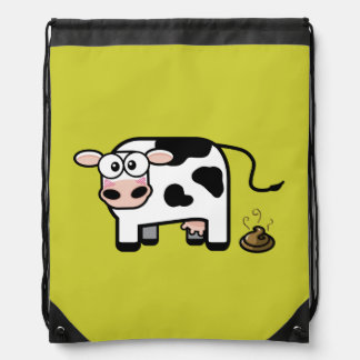 Embarrassed Pooping Cow Drawstring Backpack