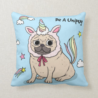 Embarrassed Pug with Unicorn Hat on Throw Pillow