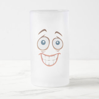 Embarrassed Smiling Yellow Smiley Face Frosted Glass Beer Mug