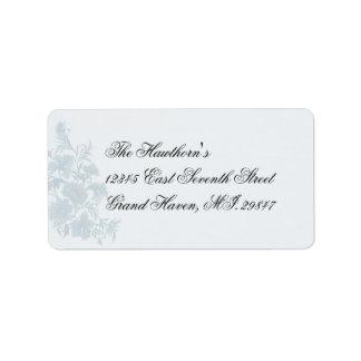 Embassy Blue Floral RSVP Address Avery Label