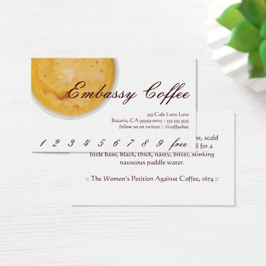 Embassy Coffee Drink Loyalty / Punch Card