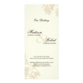 Embassy Ecru Creme Floral Wedding Program Card Custom Rack Card