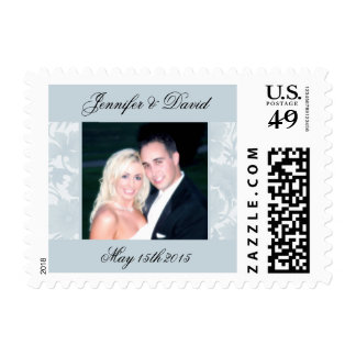 Embassy Floral Blue Photo Wedding Postage