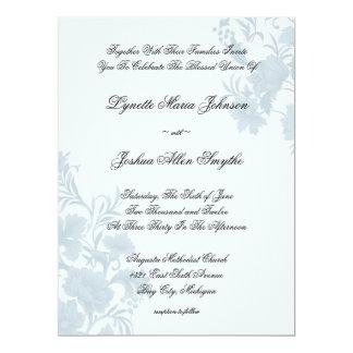 Embassy Floral Blue Wedding Invitations