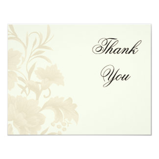 Embassy Floral Creme Flat Card Thank You