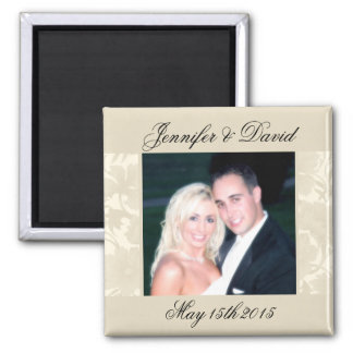Embassy Floral Ecru Creme Save The Date Photo Fridge Magnets