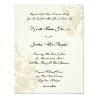 Embassy Floral Ecru Creme Wedding Invitations