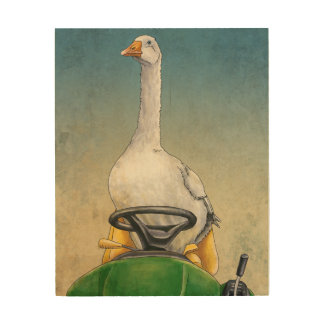 Embden Goose on Tractor Wood Canvas