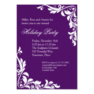 Embellished Amethyst Corporate Holiday Party Card