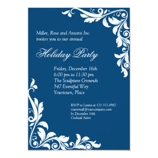 Embellished Cobalt Corporate Holiday Party Card