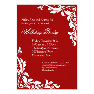 Embellished Crimson Corporate Holiday Party Card