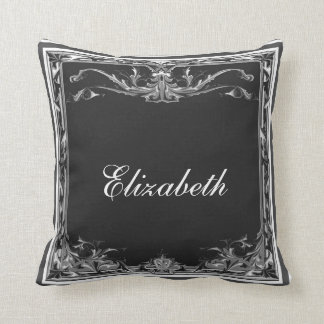 Embellished Edge ~ Black and White American MoJo P Throw Pillow