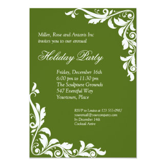 Embellished Emerald Corporate Holiday Party Card