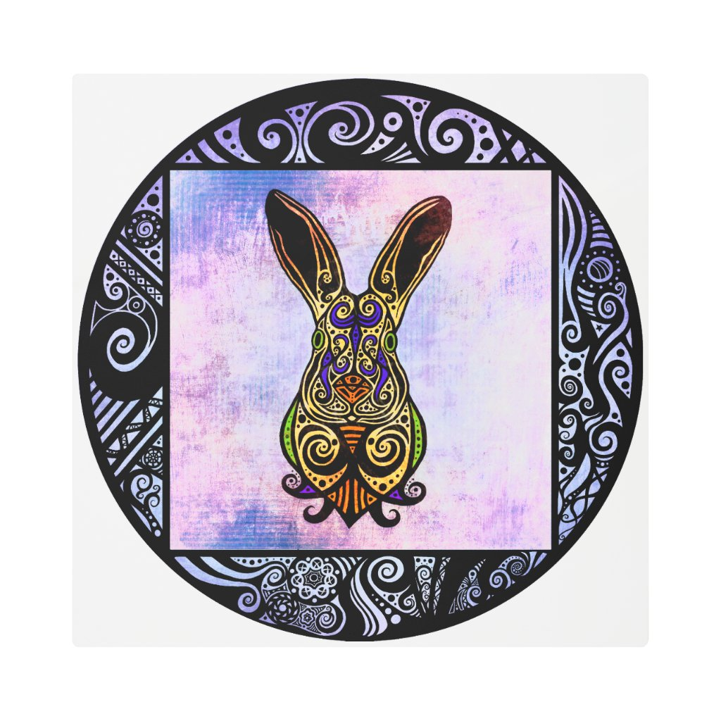 Embellished Hopped-Up Hare #1 Illustration Metal Print