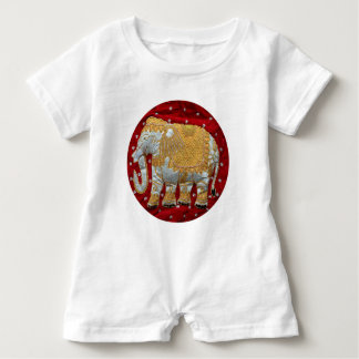 Embellished Indian Elephant Red and Gold Baby Romper