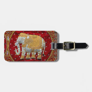 Embellished Indian Elephant Red and Gold Bag Tag