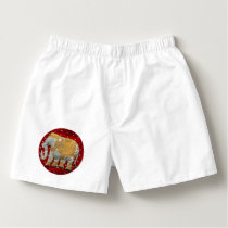 Embellished Indian Elephant Red and Gold Boxers