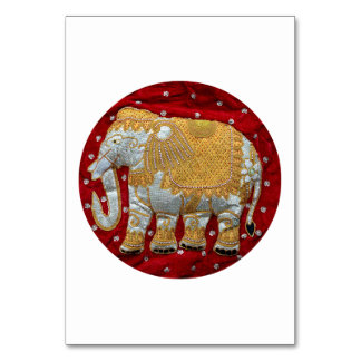 Embellished Indian Elephant Red and Gold Card