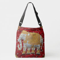 Embellished Indian Elephant Red and Gold Crossbody Bag