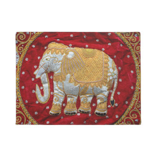 Embellished Indian Elephant Red and Gold Doormat