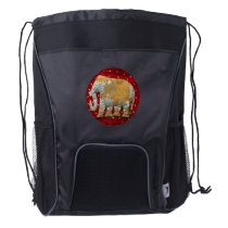 Embellished Indian Elephant Red and Gold Drawstring Backpack