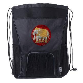 Embellished Indian Elephant Red and Gold Drawstring Backpack