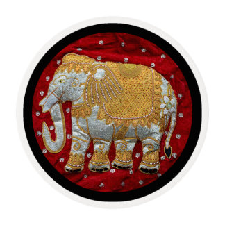 Embellished Indian Elephant Red and Gold Edible Frosting Rounds