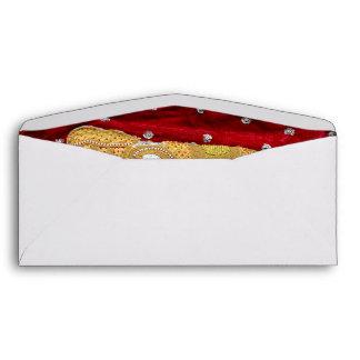 Embellished Indian Elephant Red and Gold Envelope