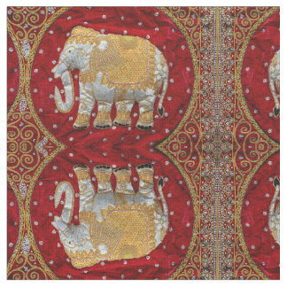Embellished Indian Elephant Red and Gold Fabric