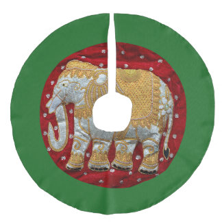 Embellished Indian Elephant Red and Gold Faux Linen Tree Skirt