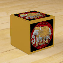 Embellished Indian Elephant Red and Gold Favor Box