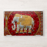 """Embellished Indian Elephant Red and Gold HP Laptop Skin<br><div class=""""desc"""">Image of an Indian Elephant decorated with sequins and beads in white,  silver,  and gold against maroon red velvet.</div>"""