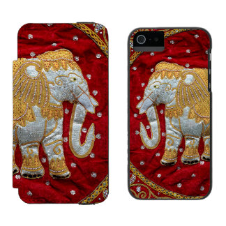 Embellished Indian Elephant Red and Gold iPhone SE/5/5s Wallet Case