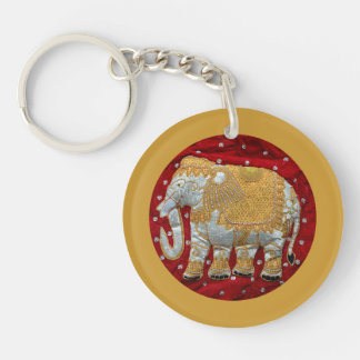 Embellished Indian Elephant Red and Gold Keychain