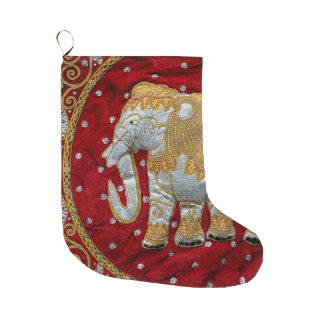 Embellished Indian Elephant Red and Gold Large Christmas Stocking