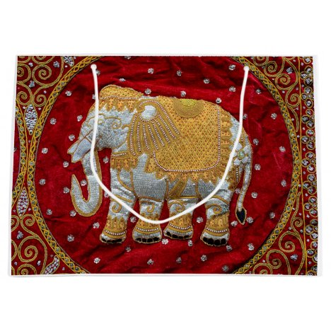 Embellished Indian Elephant Red and Gold Large Gift Bag
