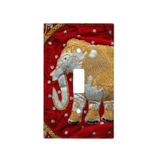 Embellished Indian Elephant Red and Gold Light Switch Cover