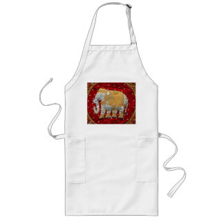 Embellished Indian Elephant Red and Gold Long Apron